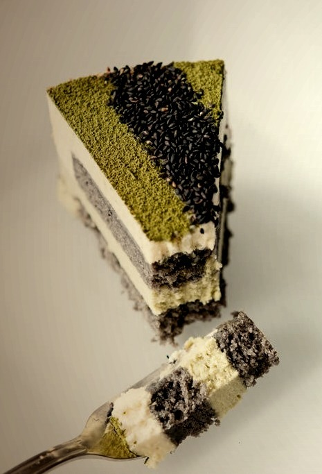 Matcha-Goma Mousse Cake (Green Tea-Black Sesame Mousse Cake){Hungry Rabbit NYC}