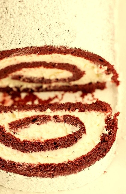 Red Velvet Roll Cake with White Chocolate Cream Cheese Frosting