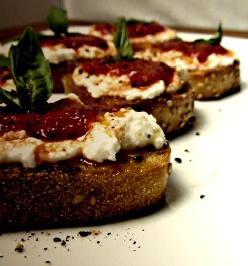 Roasted Red Pepper & Ricotta Crostini