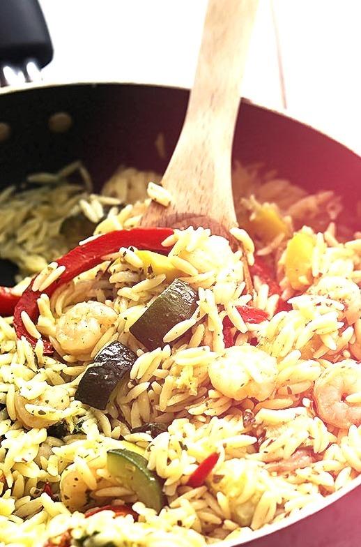 Shrimp and Veggie Orzo with Pesto Vinaigrette