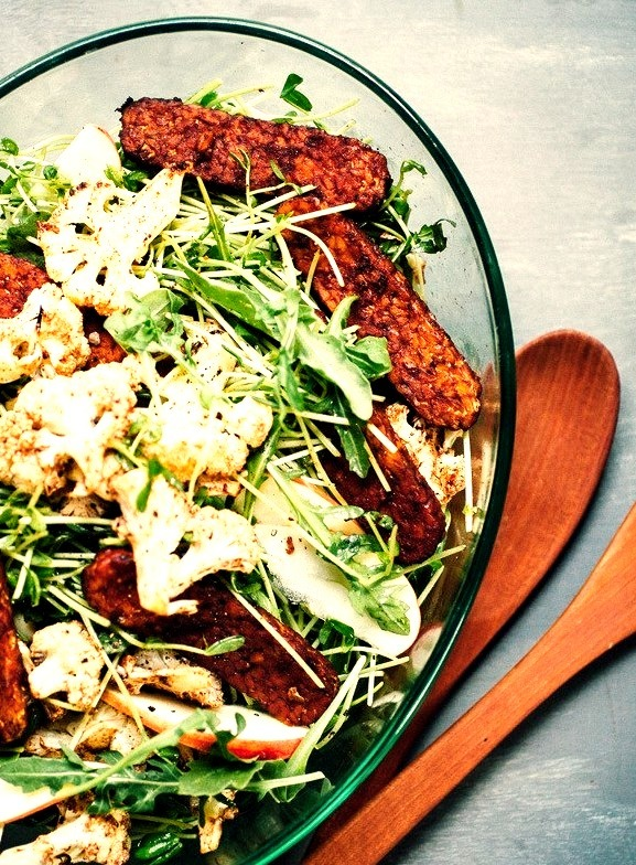 Cinnamon Roasted Cauliflower and Tempeh Bacon Salad with Sprouts & Apple Will Frolic for Food